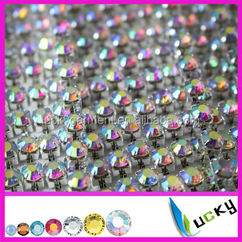 Factory price 2014 new 28ss crystal ab rhinestone chain super closed with high quality de strass for garment