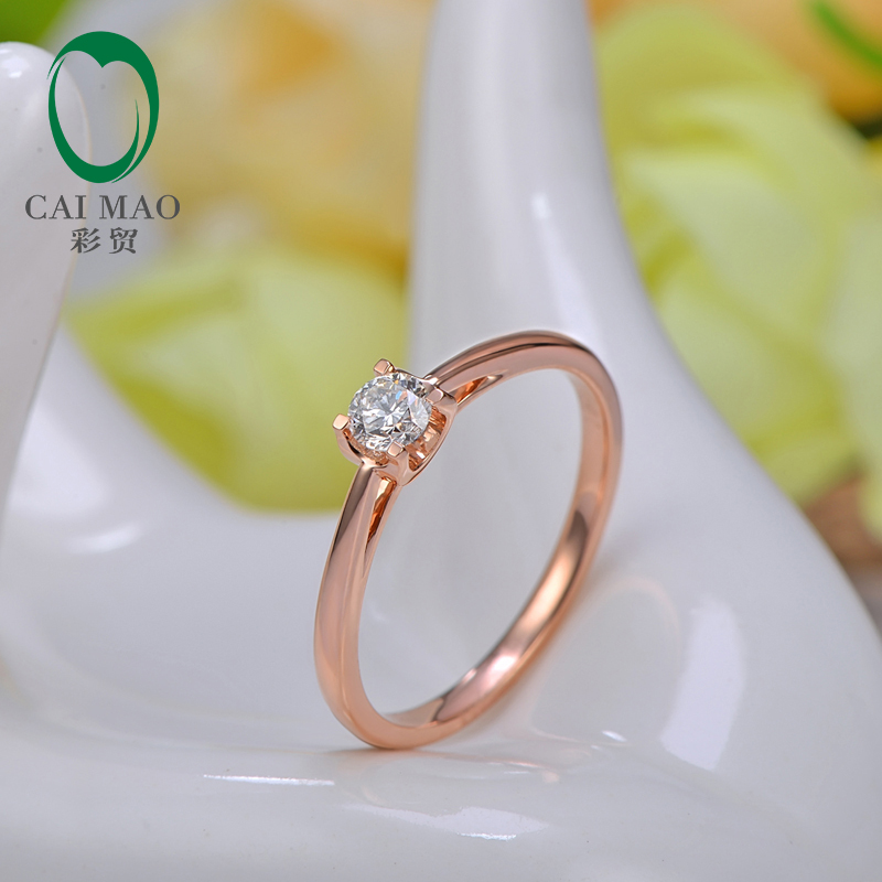 Lady's Hand Setting Natural Diamond 18K Rose Gold Solitaire Ring
