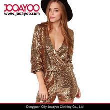 Wholesale Custom Ladies Evening Catsuit Gold Sequin Jumpsuit Women Sexy Short Rompers