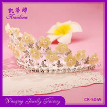 Factory sale OEM quality cloth flower crystal branches bridal beauty pageant crowns