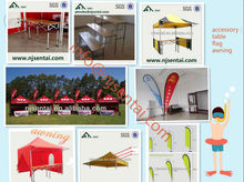 banner advertising/wood table/frame tent