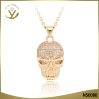 Wholesale fashion jewelry 2016 new design 18K gold charm pendants with skull pendent necklace jewelry design