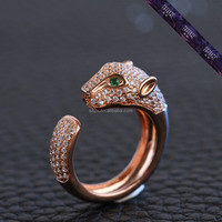 JR0124- Good Sale Rose Gold Ring for Man Made of 925 Silver Customized Zircon Ring