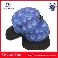 OEM wholesale custom made high quality promotional floral print suede brim 5 panel hat 5 panel cap wool