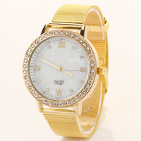 2016 New Arrival Jewelry Gold Dazzle Wholesale Fashion Lady Watch