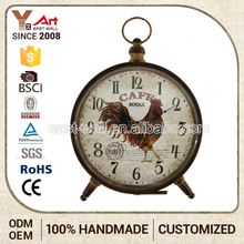 Professional Design Customizable Handmade Antique Iron Electric Desk Calendar Clock