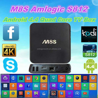 M8S Amlogic S812 Quad Core TV Box KODI H.265 HEVC Android 4.4 Dual band Wifi 2GB RAM 16GB EMMC BT