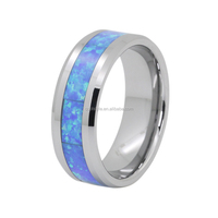 Jewelry grade blue & green real opal inlay tungsten carbide wedding ring