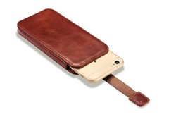 Classical Mobile Phone Pouch Bag For iPhone Luxury Genuine Leather Push Out Holster Case For iPhone