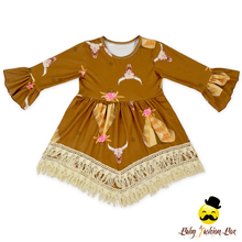 Long Ruffle Sleeve Fringes Tassels Kids Dresses Baby Boutique Latest Cotton Girls Frock Patterns