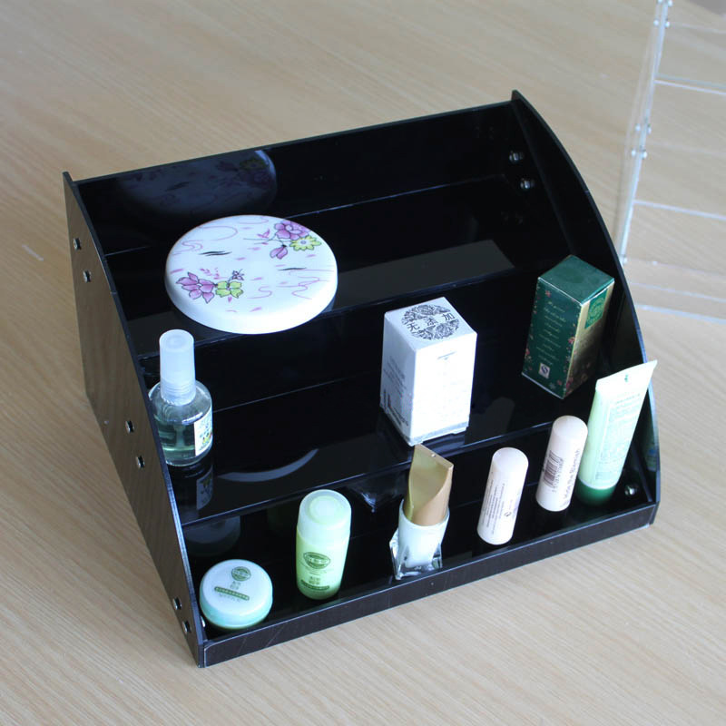 custom made acrylic display cosmetic product display stands , black display for cosmetic