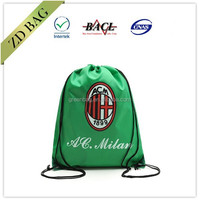 2016 eco green custom promotional waterproof recycled polyester drawstring bag/polyester drawstring shoe bags