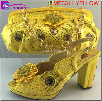 italian matching shoes and bags ME3311 yellow