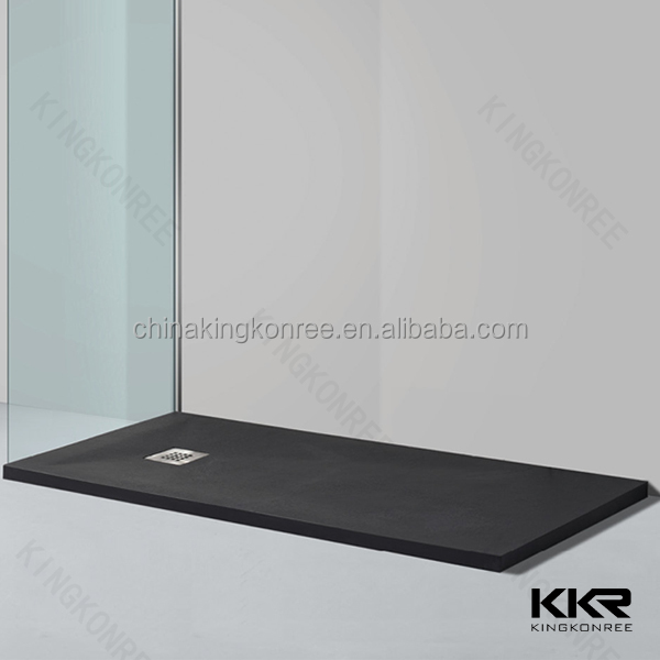 Artificial stone black slate shower tray , black marble shower tray