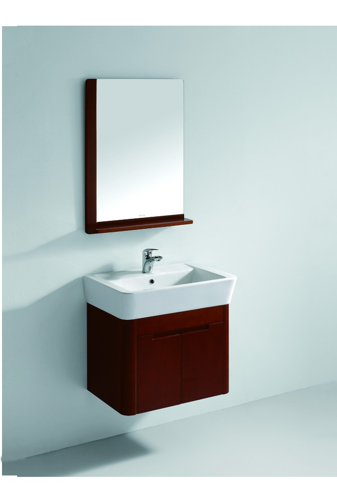 Storage Convenient Hanging Ceramic Basin Cabinet In Bathroom