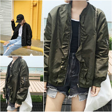 B31084A Europea wholesale female army green/black baseball uniform bomber jacket