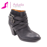 buckle strap zipper leather low heel fashion booties