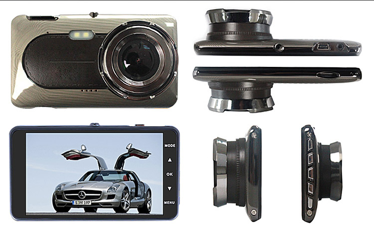 "Factory price wdr 1080p manual car camera hd dvr 4.0"" IPS screen car dash cam 1080p dual lens recording"