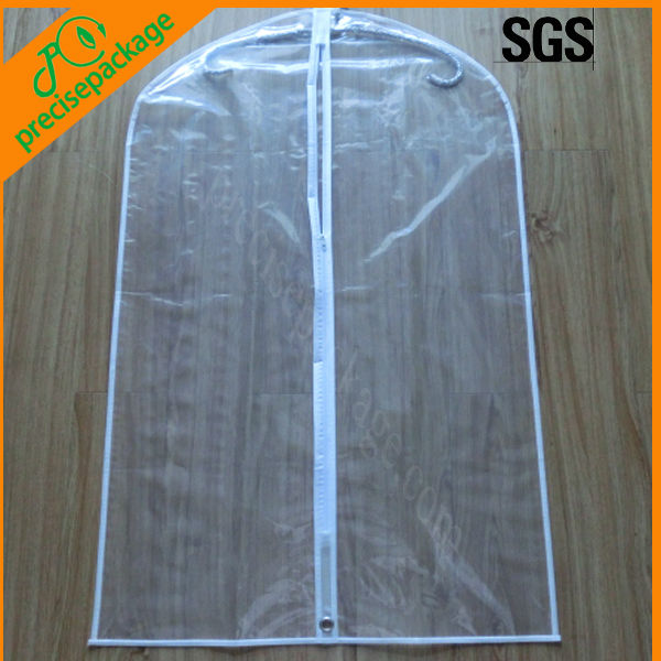 Reusable transparent clear plastic suit cover bag with zipper