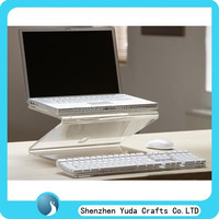 High grade clear acrylic laptop table stand, Plexiglass portable folding laptop display rack custom