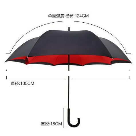 Factory C Handle Hands-free Reverse Umbrella