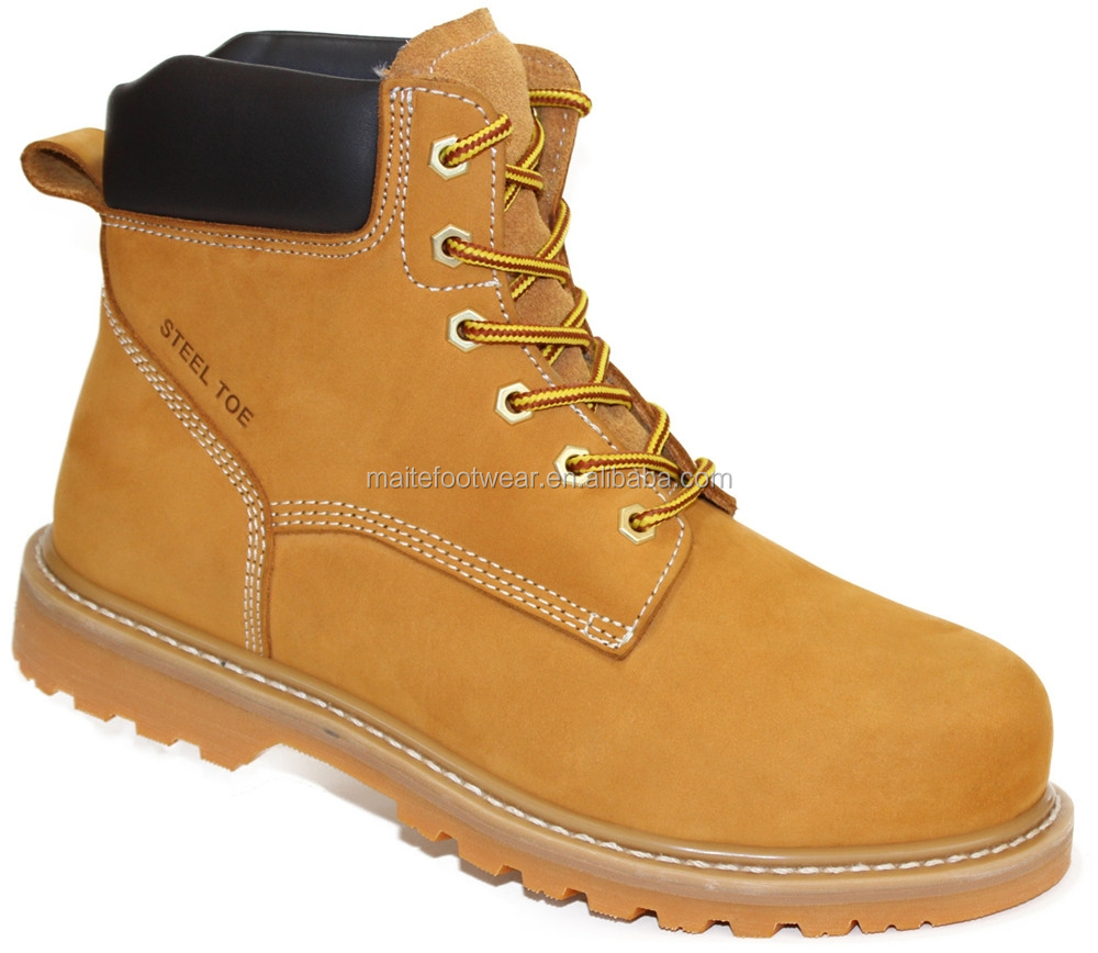 Yellow nubuck leather upper steel toe safety shoes