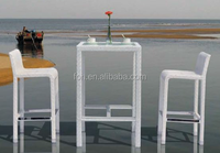 White Outdoor Garden Rattan Waterproof Table and Chair (FOH-MJT-BZ-2038)