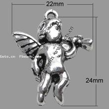 zinc alloy bronze angel wings charm