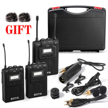 BOYA BY-WM8 UHF Dual Wireless Lavalier Microphone Systerm Lav Interview Mic 2 Transmitters 1 Receiver for DSLR Video Camera