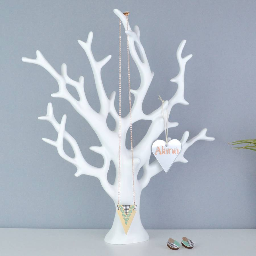 Necklace Stand White Ceramic Coral Jewellery Tree To Hold Necklaces, Rings, Bracelets Holder
