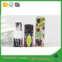 Custom logo printing eco paper lipstick tube packaging with screw up plastic inner tube