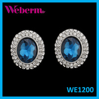 Manufacturer Unique Round Halo Diamond Jewelry Certified Blue Earrings