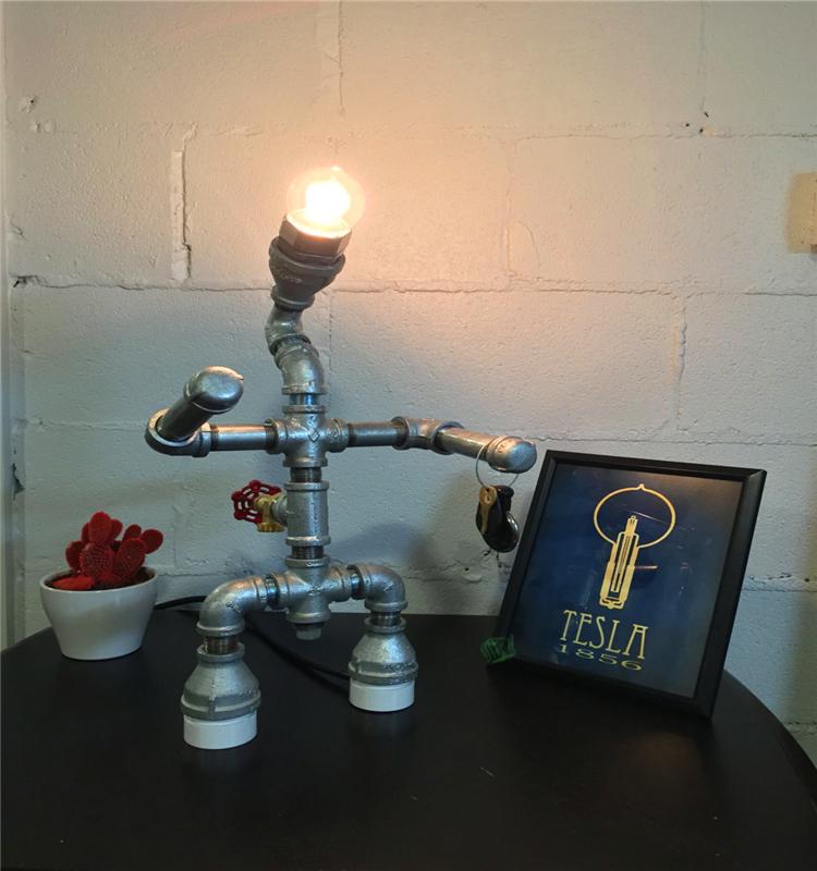 Moden 철 산업 금속 중세 스타일 파잎 로봇 스타일의 테이블 램프 ...