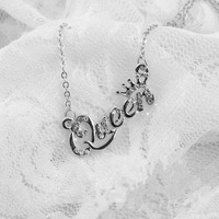 Hot Short Chain Letter Queen Inlay Crystal Necklace For Women