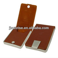 leather business card case with metal