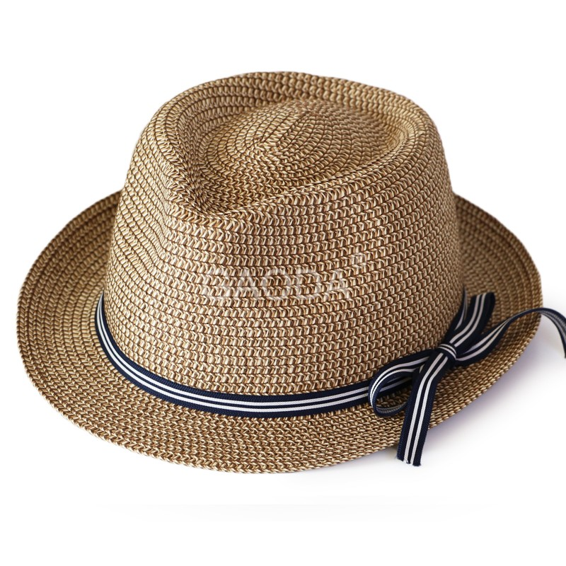 Ladies paper fedora hats wholesale straw hat China