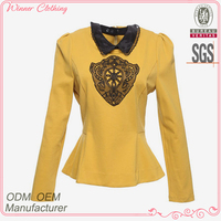 Latest bright color collect waist embroidered ladies long sleeve crochet blouses with long sleeve