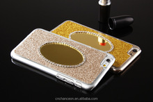 Fashional Mirror Cover with Glitter Powder Diamond Decoration PC Mobile Phone Case Cover For Sumsung S4 S5 S6 S6edge CO-PC-3025