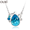 OUXI fashion series aquarius jewelry made with crystal /alloy rhodium plated necklace 10748