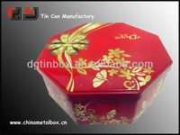 promotional octagonal cookie tin,octagonal tin can for food packaging