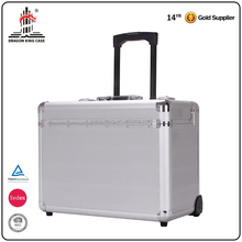 High Quality Silver Hard Shell With Lock Rolling Trolley Aluminum Tool Cases