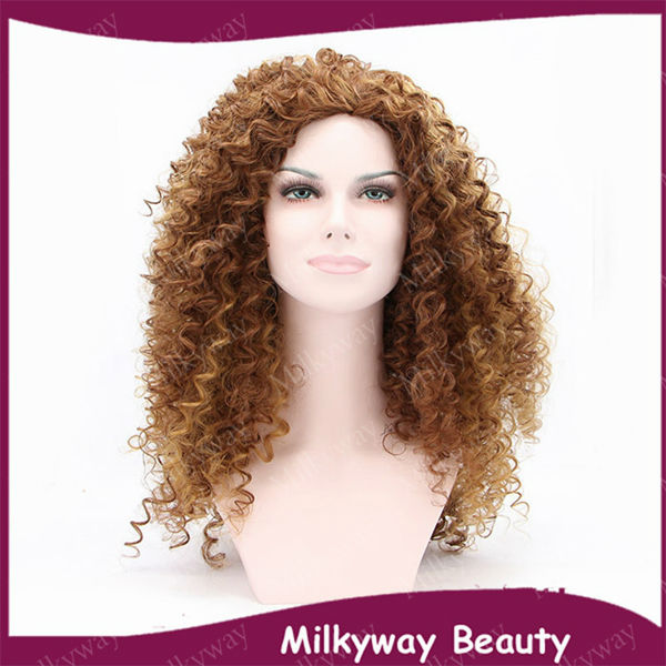 Free shipping curly afro small kinky curl brown hightlight blond color celebrity heat resistant synthetic lace front wig