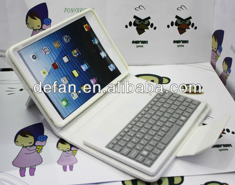 Leather stand wireless bluetooth keyboard module/case for ipad