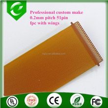 Professional custom make 0.2mm pitch 51pin fpc flat cable both end with wings