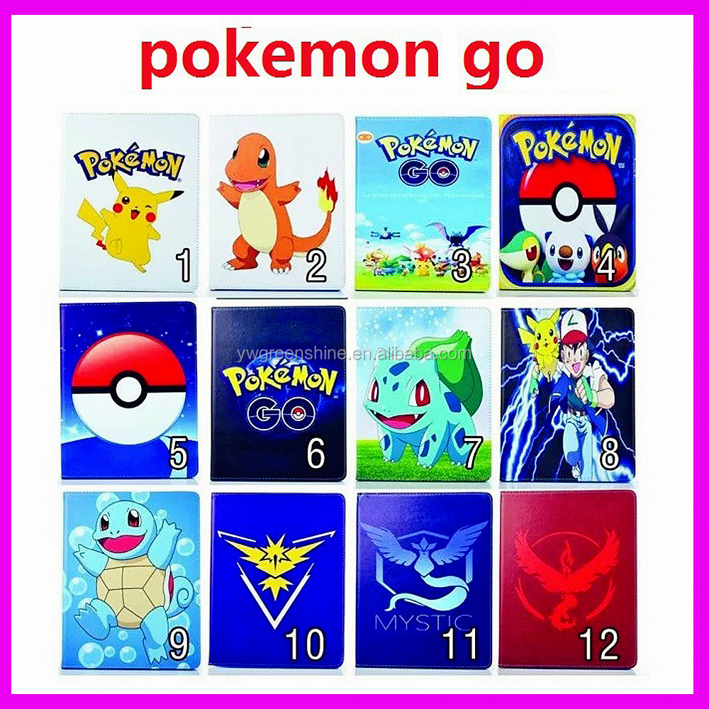 2017 Wholesale Cheap Factory price quality Pokemon Go Premium PU Leather Cover for Ipad, Leather Flip Stand Case for Ipad
