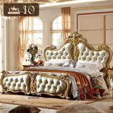 313# Home style foshan shunde furniture carved pattern solid wooden high quality leather baroque royal luxury leather bed