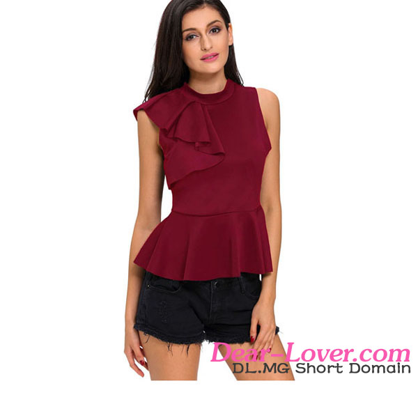 Stylish Sexy Clubwear Wine Asymmetric Ruffle Side Peplum Top women tunic tops