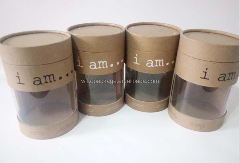 Custom made paper round packaging tube with clear window