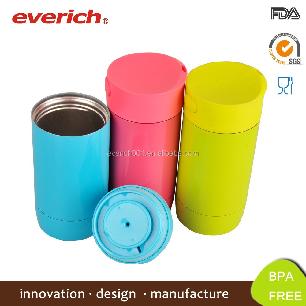 Double Wall Stainless Steel Vacuum Insulated Travel Mug With side Push Lid