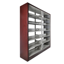 Yuan Da Cheap Double Sided Wooden Library Bookshelf Metal Book <strong>Shelf</strong>